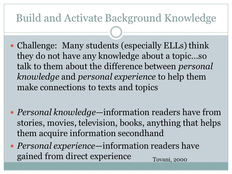 Build and Activate Background Knowledge