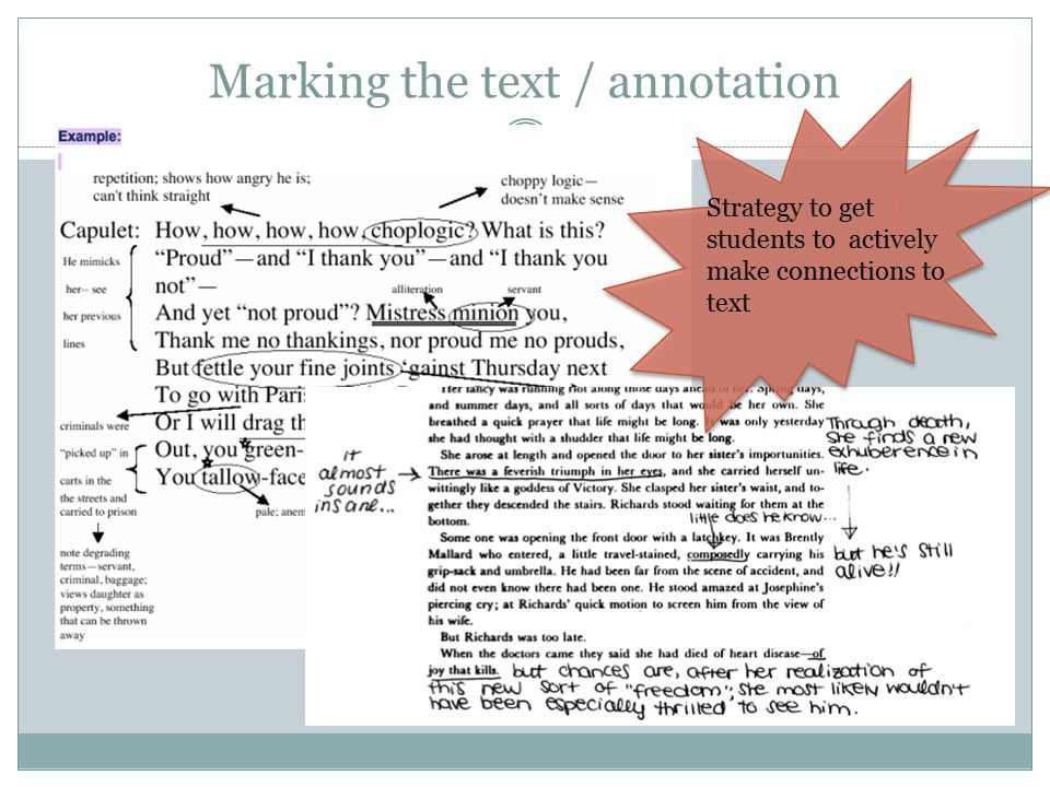 Marking the text / annotation