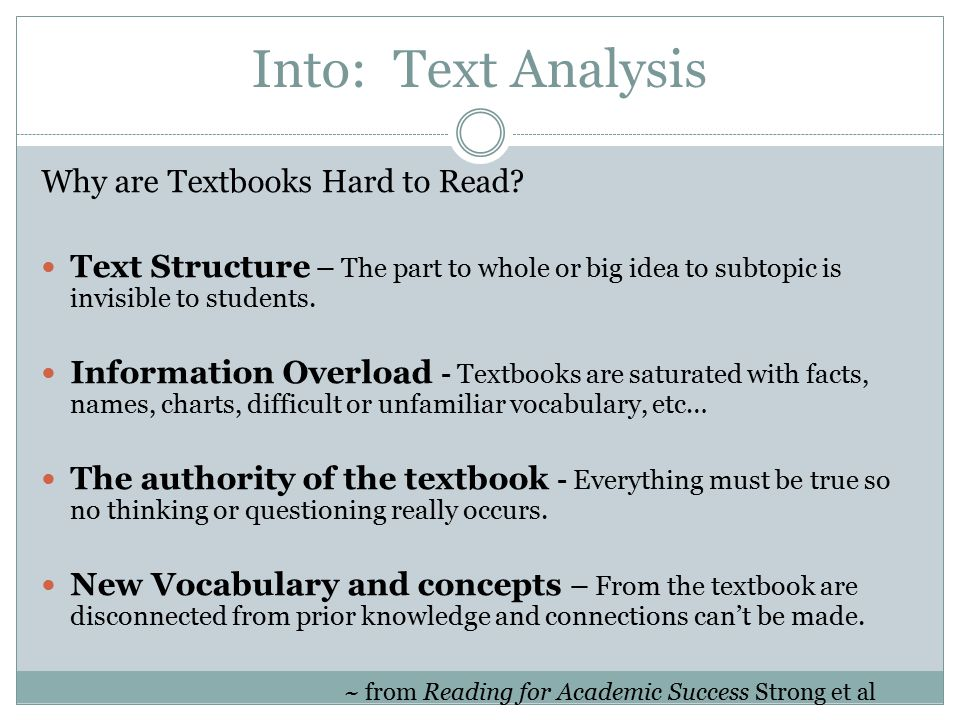 Into: Text Analysis Why are Textbooks Hard to Read