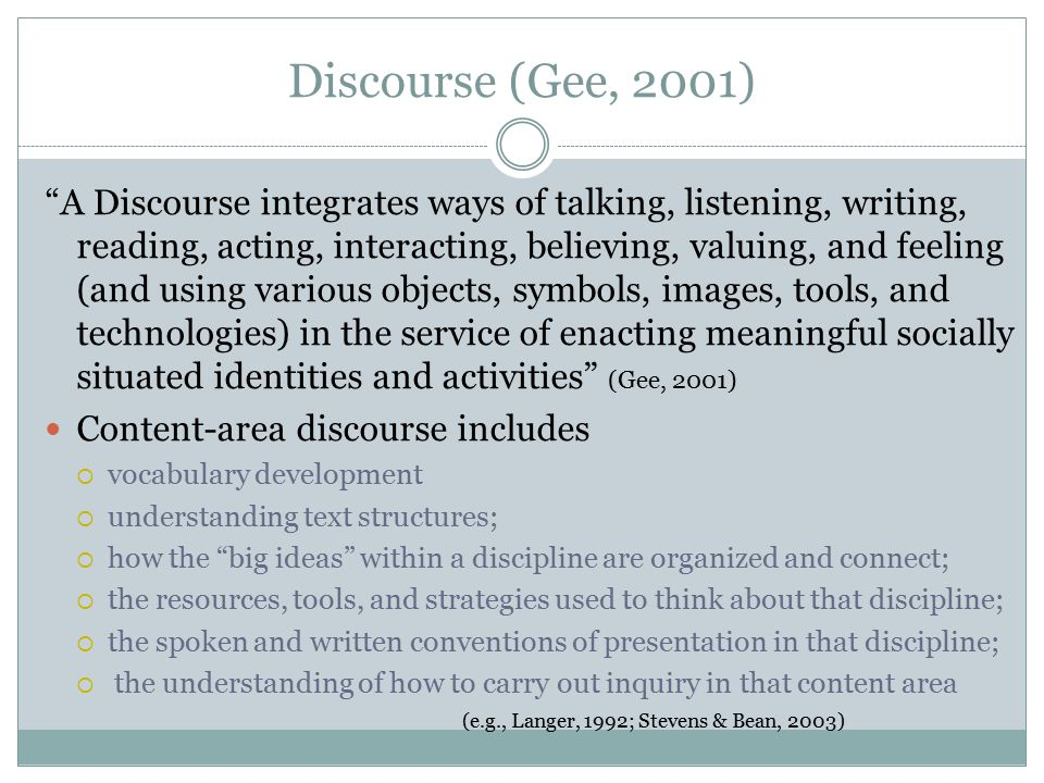 Discourse (Gee, 2001)