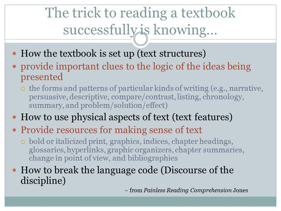 The trick to reading a textbook successfully is knowing…