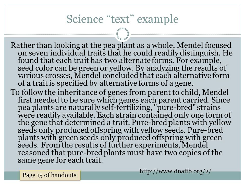 Science text example