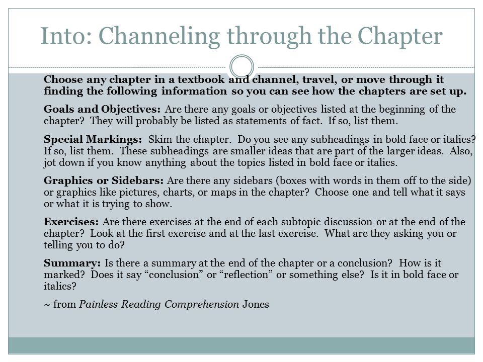 Into: Channeling through the Chapter
