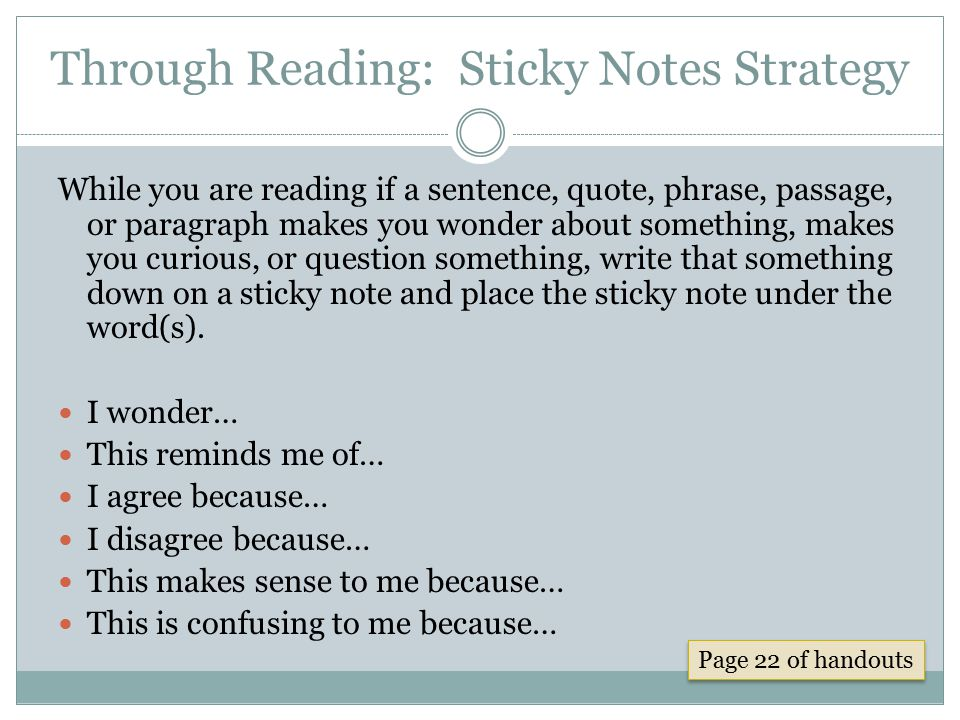 Through Reading: Sticky Notes Strategy