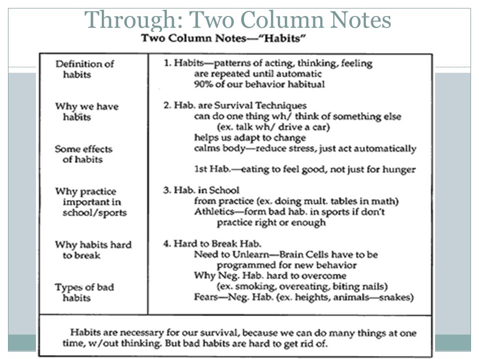 Through: Two Column Notes