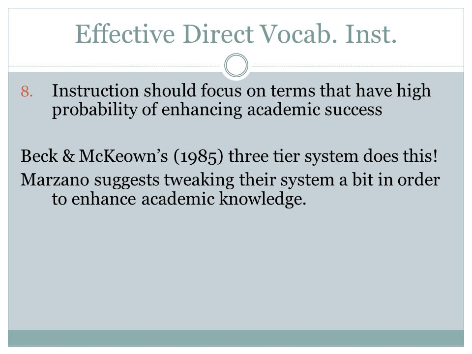 Effective Direct Vocab. Inst.