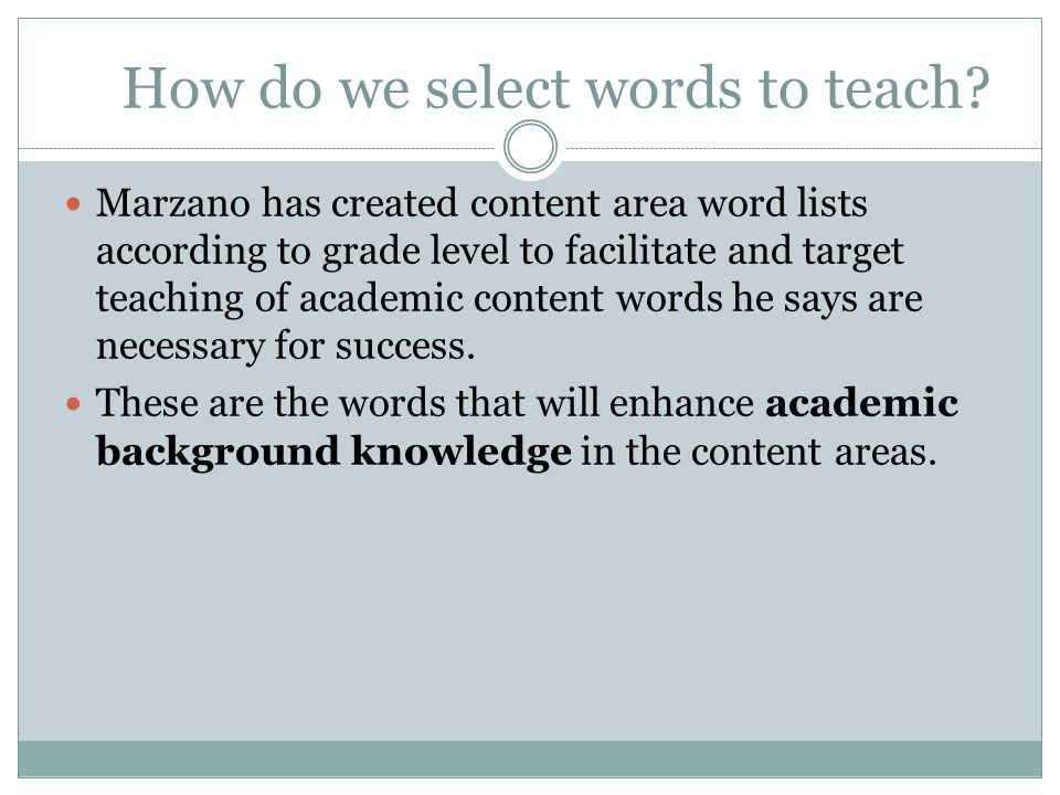 How do we select words to teach