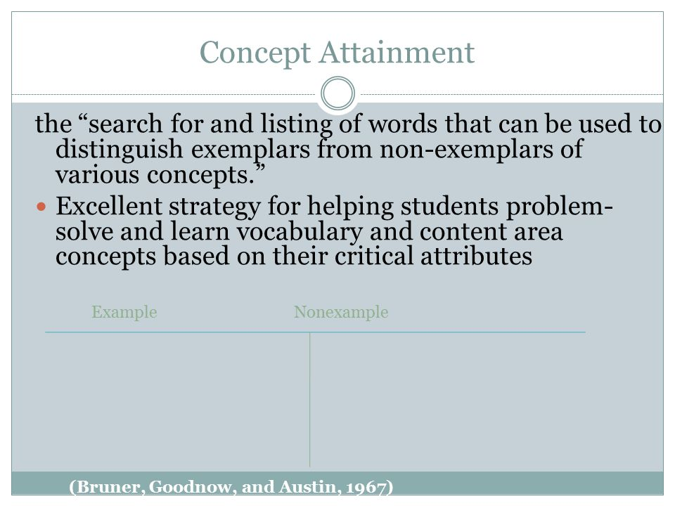 Concept Attainment the search for and listing of words that can be used to distinguish exemplars from non-exemplars of various concepts.