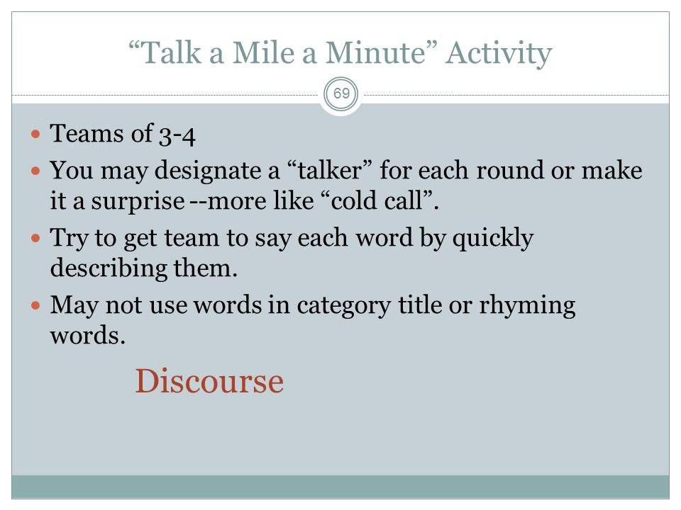 Talk a Mile a Minute Activity