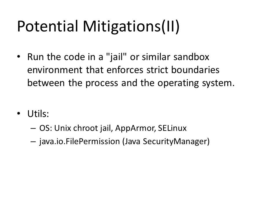 Potential Mitigations(II)