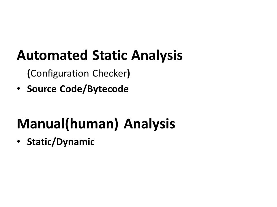 Automated Static Analysis