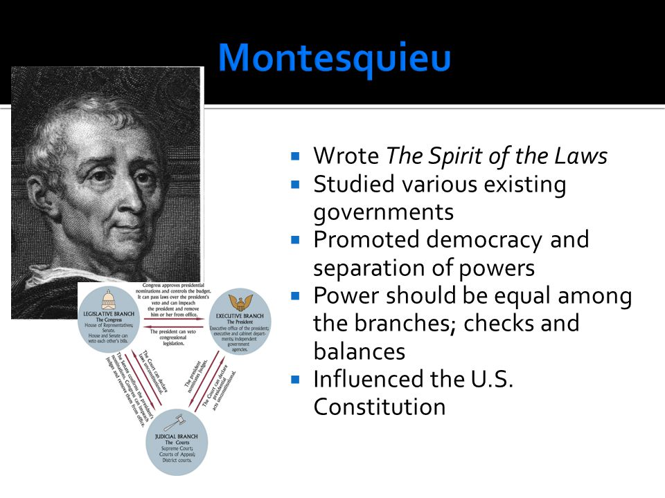Montesquieu Wrote The Spirit of the Laws
