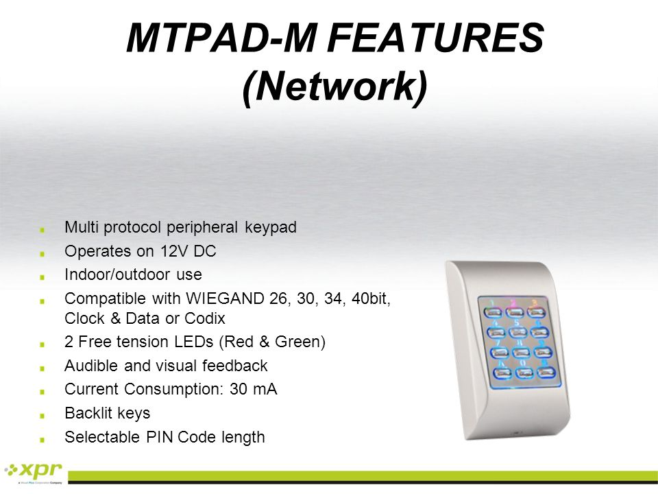 MTPAD-M FEATURES (Network)