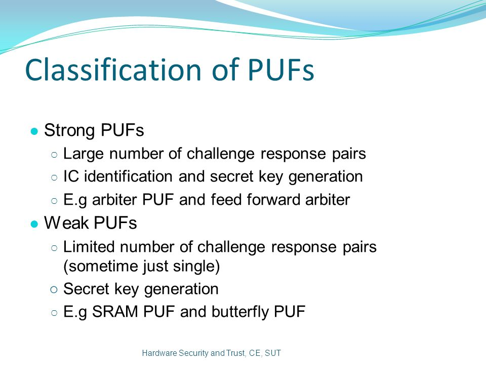 Classification of PUFs