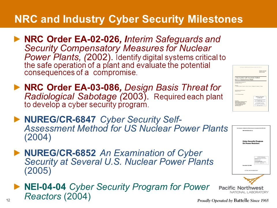NRC and Industry Cyber Security Milestones