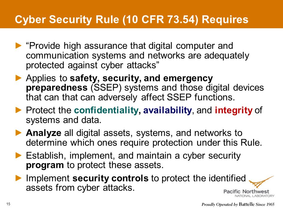 Cyber Security Rule (10 CFR 73.54) Requires