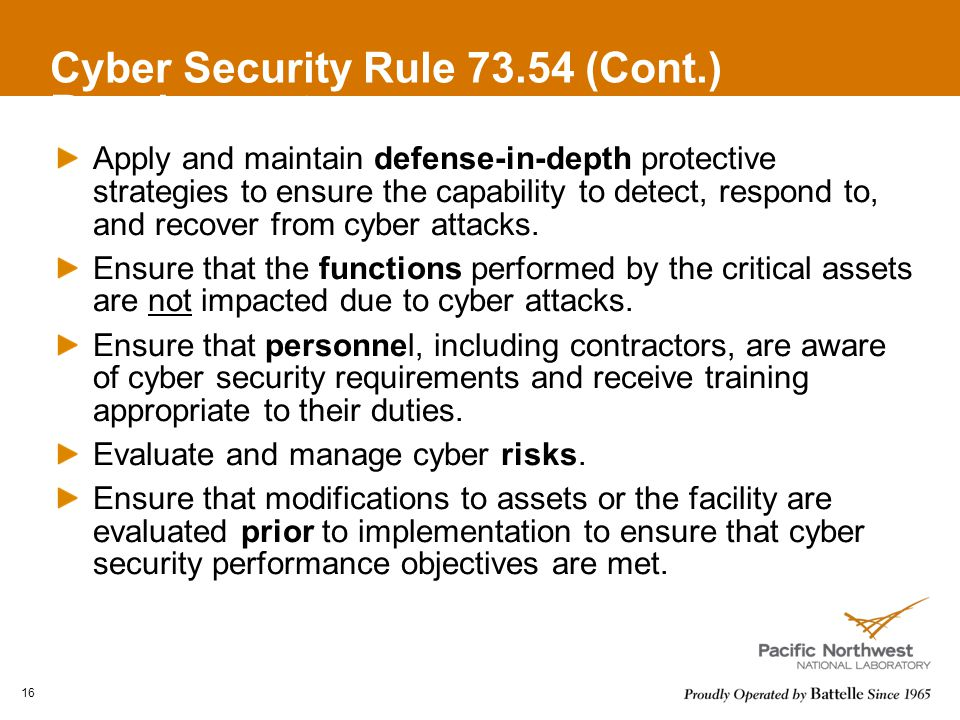 Cyber Security Rule 73.54 (Cont.) Requirements