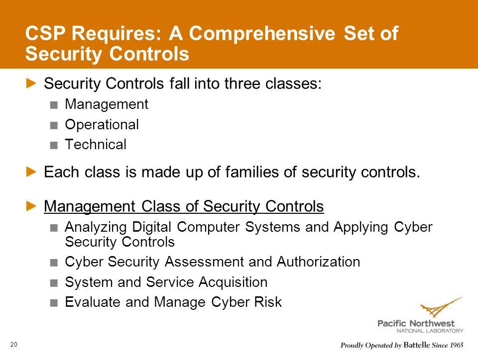 CSP Requires: A Comprehensive Set of Security Controls