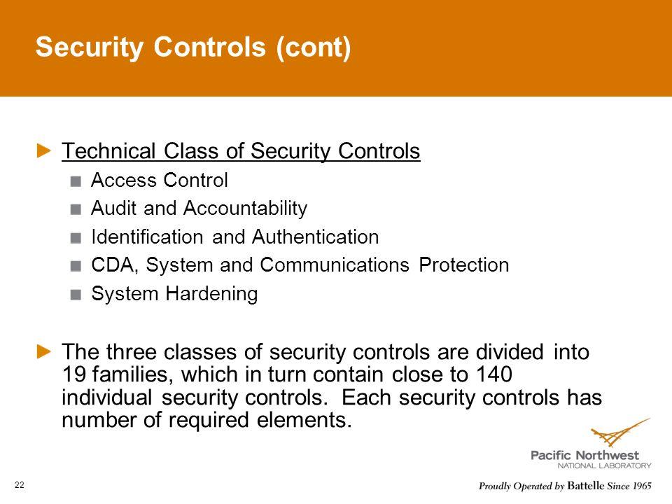 Security Controls (cont)