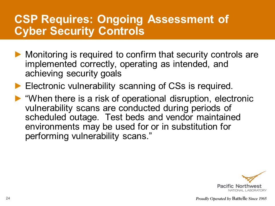 CSP Requires: Ongoing Assessment of Cyber Security Controls