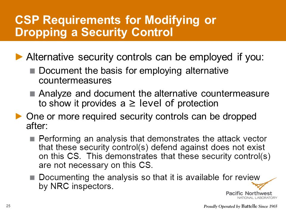 CSP Requirements for Modifying or Dropping a Security Control