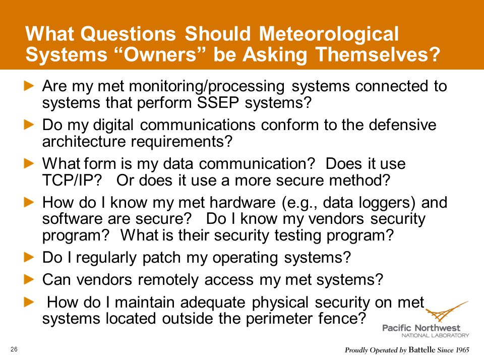 What Questions Should Meteorological Systems Owners be Asking Themselves