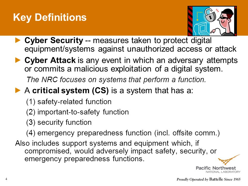 Key Definitions Cyber Security -- measures taken to protect digital equipment/systems against unauthorized access or attack.