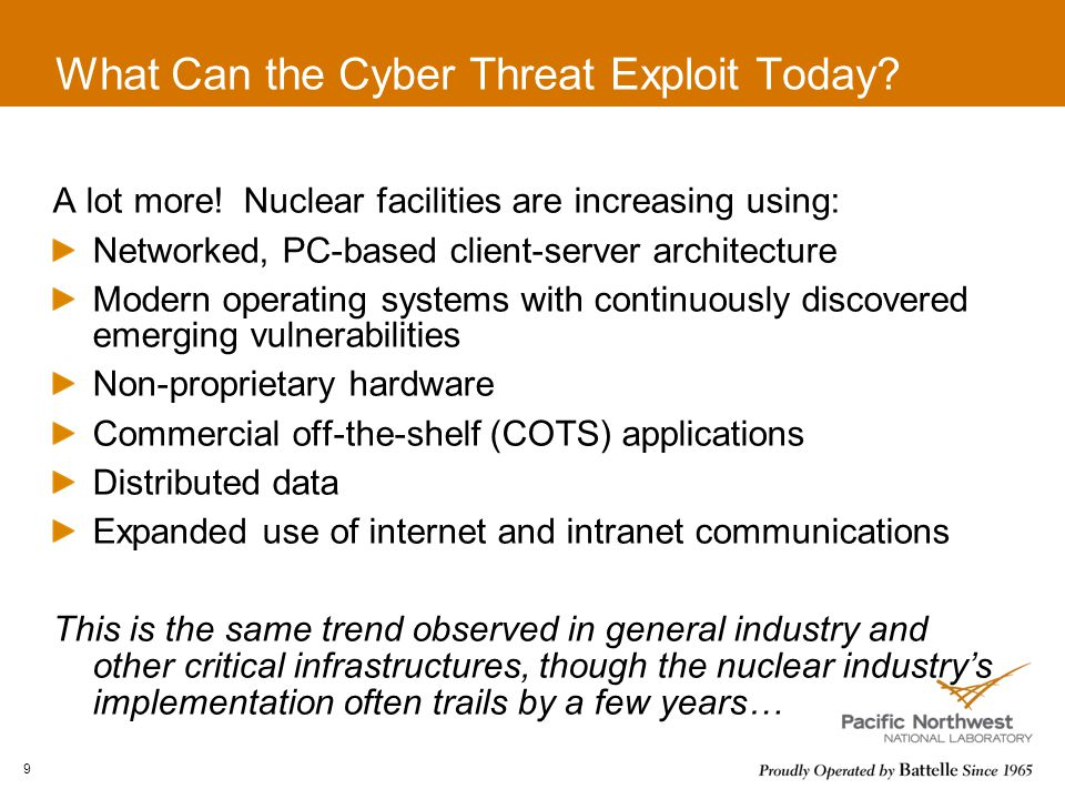 What Can the Cyber Threat Exploit Today