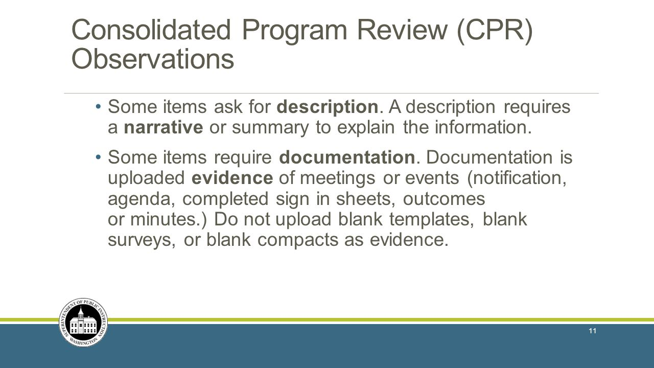 Consolidated Program Review (CPR) Observations