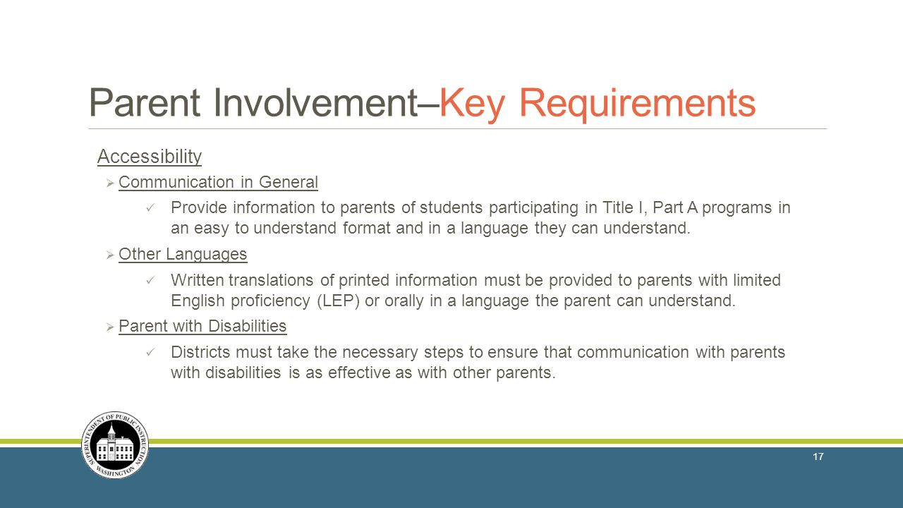 Parent Involvement–Key Requirements
