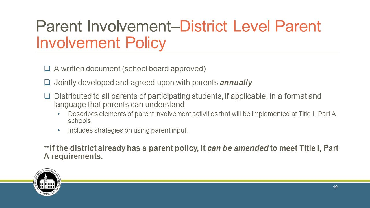 Parent Involvement–District Level Parent Involvement Policy