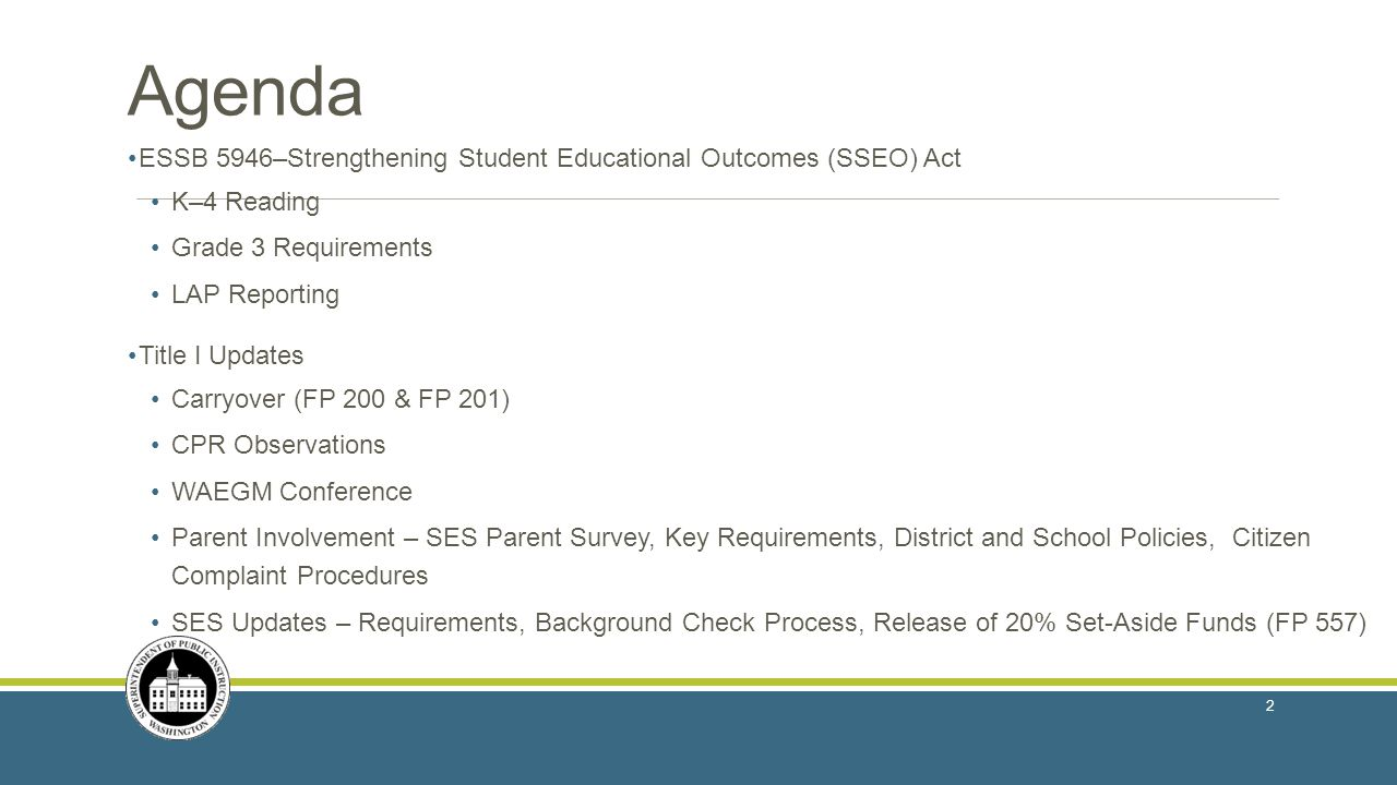 Agenda ESSB 5946–Strengthening Student Educational Outcomes (SSEO) Act