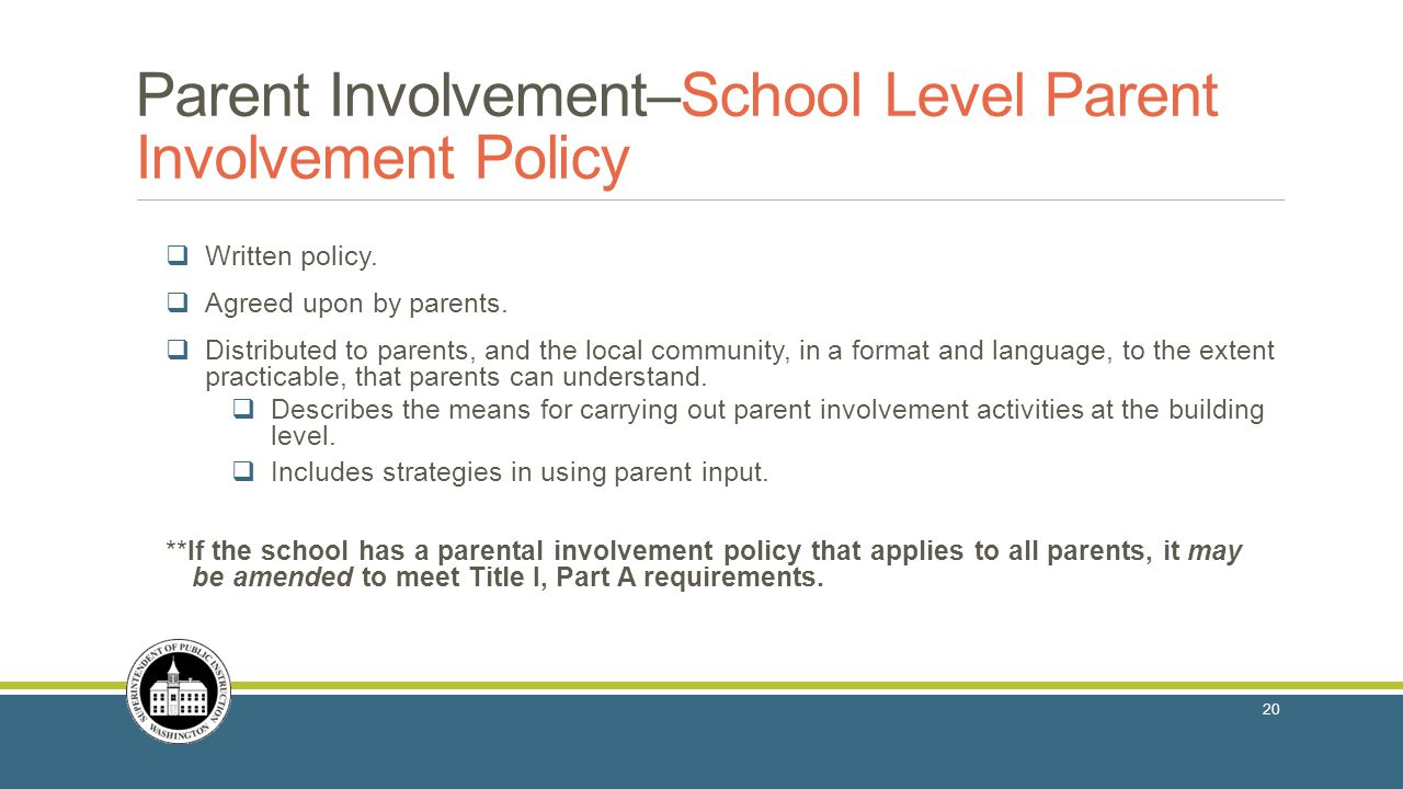 Parent Involvement–School Level Parent Involvement Policy