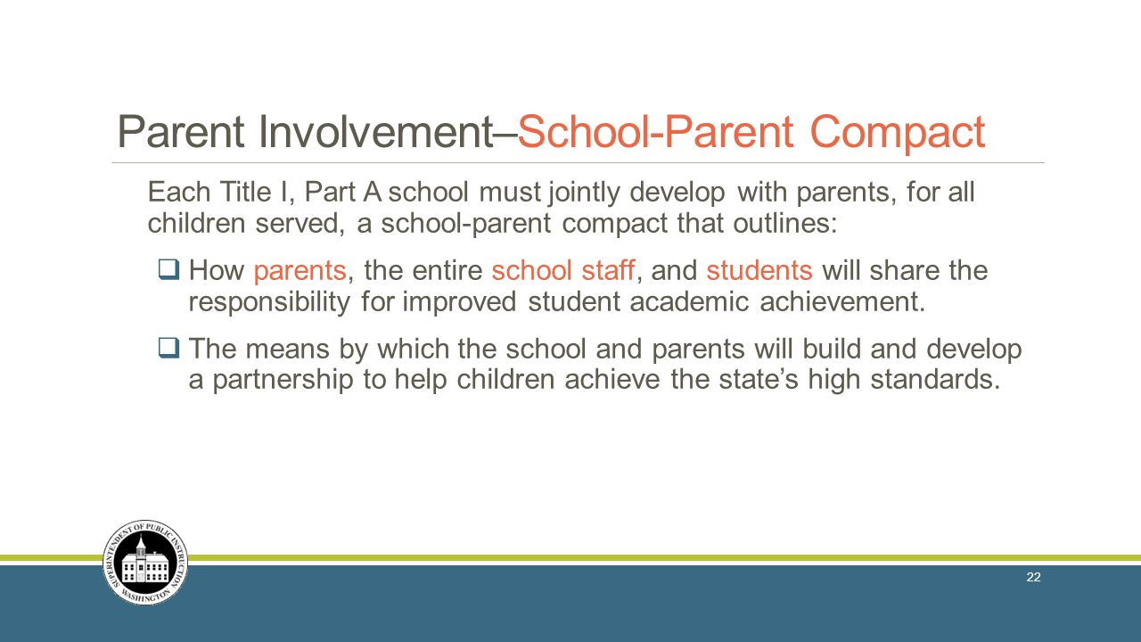 Parent Involvement in Title I, Part A Parent Involvement–School-Parent Compact