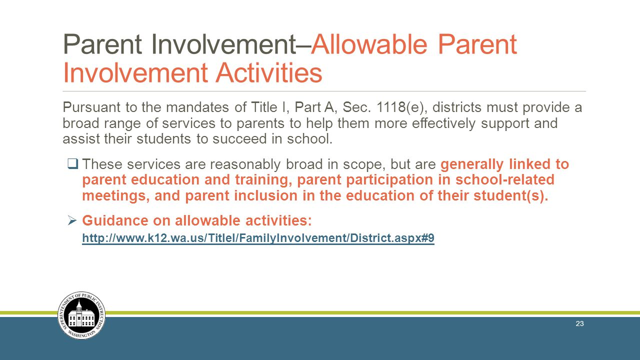 Parent Involvement–Allowable Parent Involvement Activities
