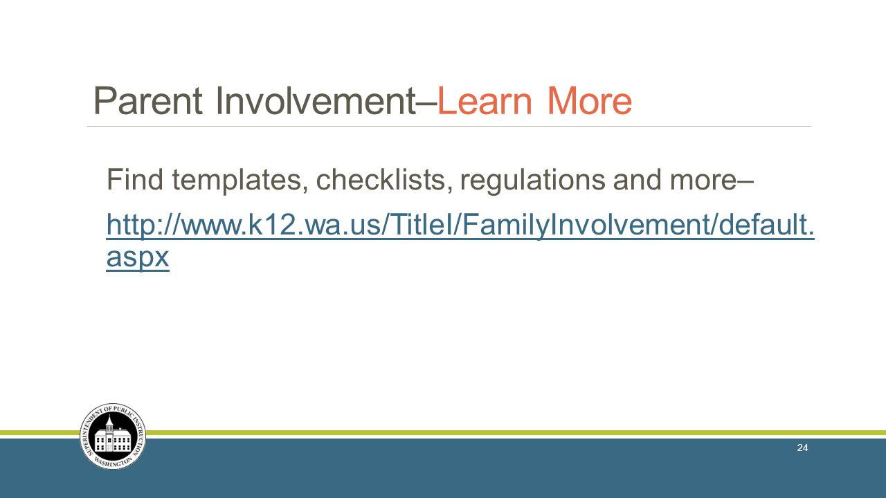 Parent Involvement–Learn More