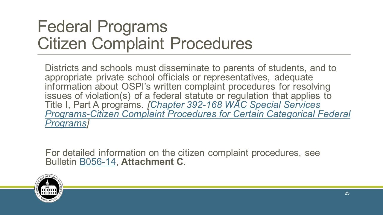 Federal Programs Citizen Complaint Procedures