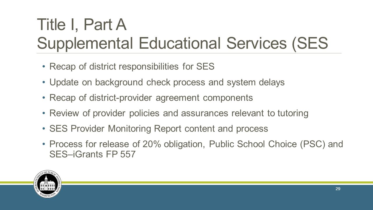 Title I, Part A Supplemental Educational Services (SES