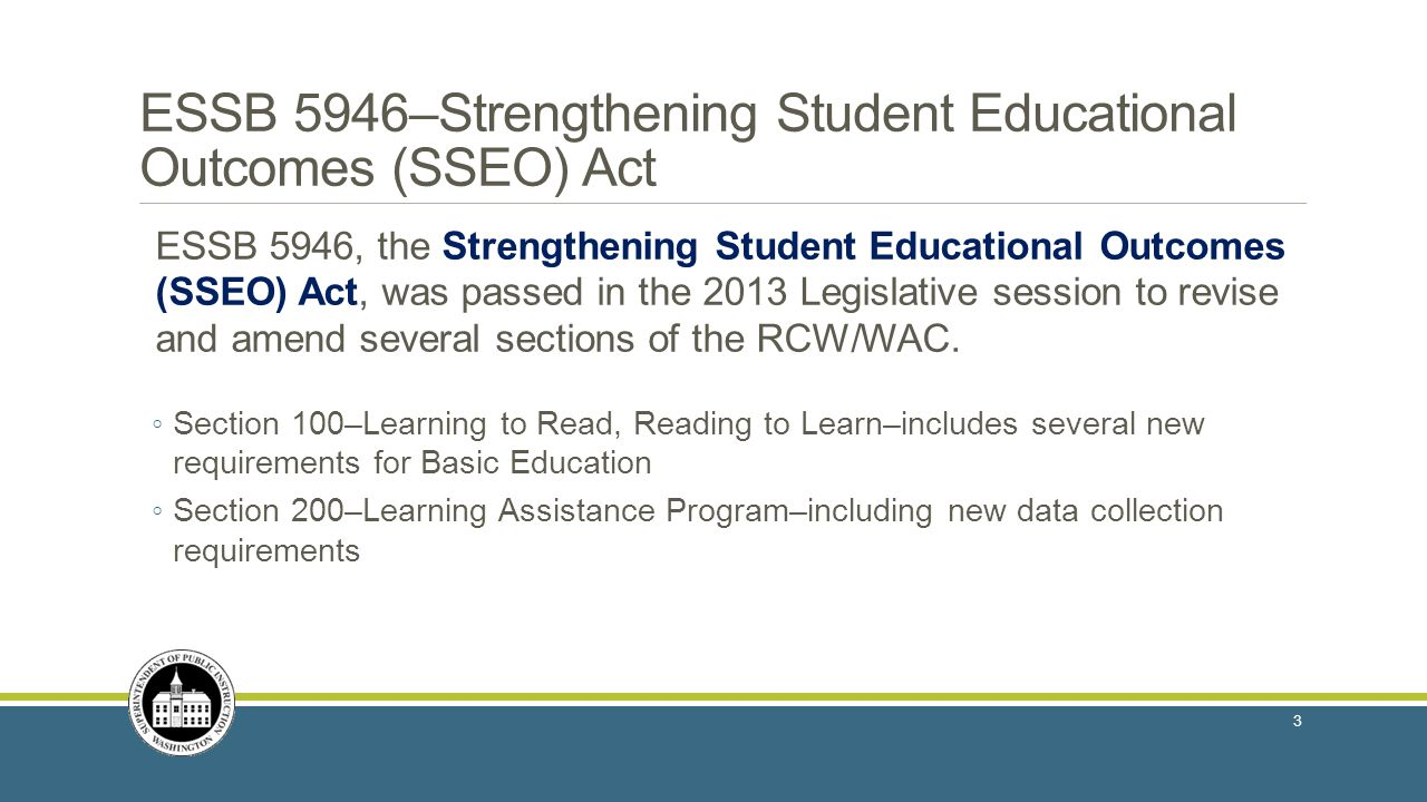 ESSB 5946–Strengthening Student Educational Outcomes (SSEO) Act