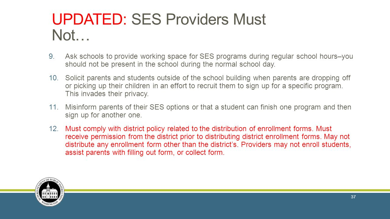 UPDATED: SES Providers Must Not…
