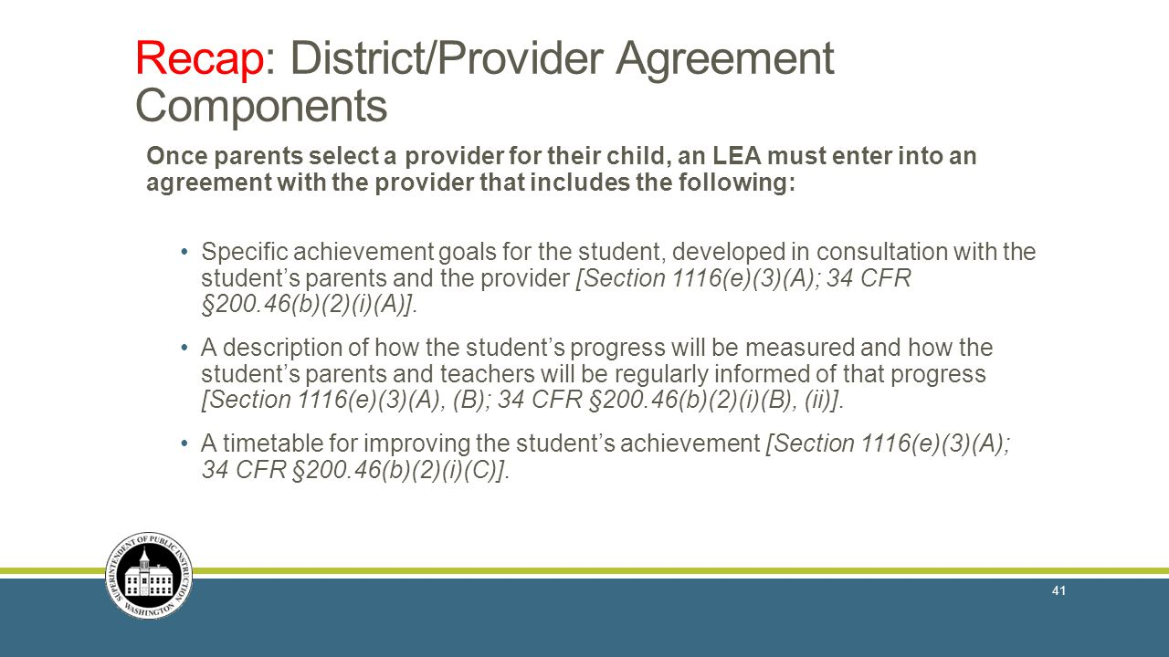Recap: District/Provider Agreement Components