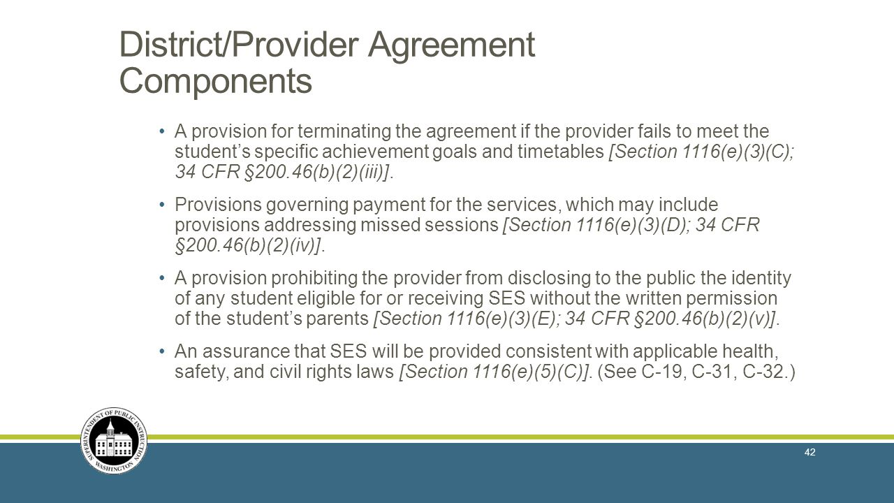District/Provider Agreement Components