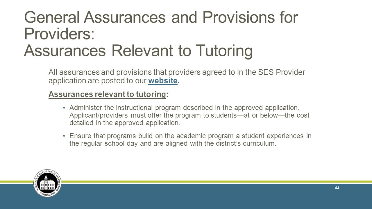 General Assurances and Provisions for Providers: Assurances Relevant to Tutoring