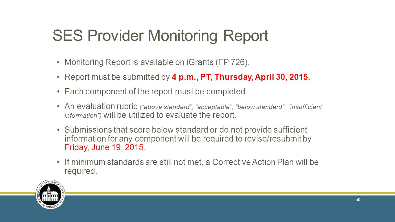 SES Provider Monitoring Report