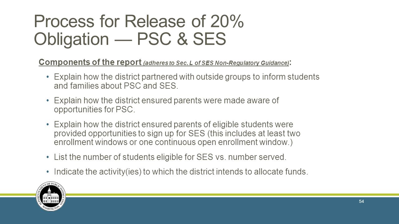 Process for Release of 20% Obligation — PSC & SES
