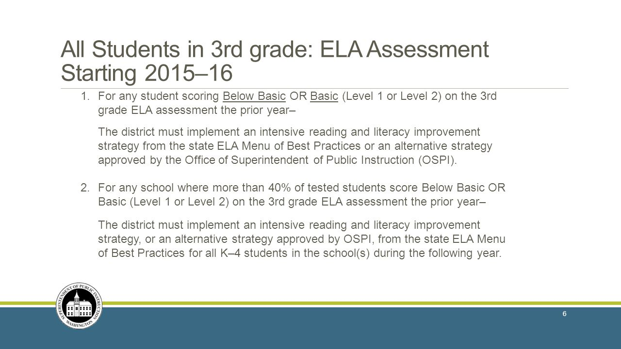 All Students in 3rd grade: ELA Assessment Starting 2015–16