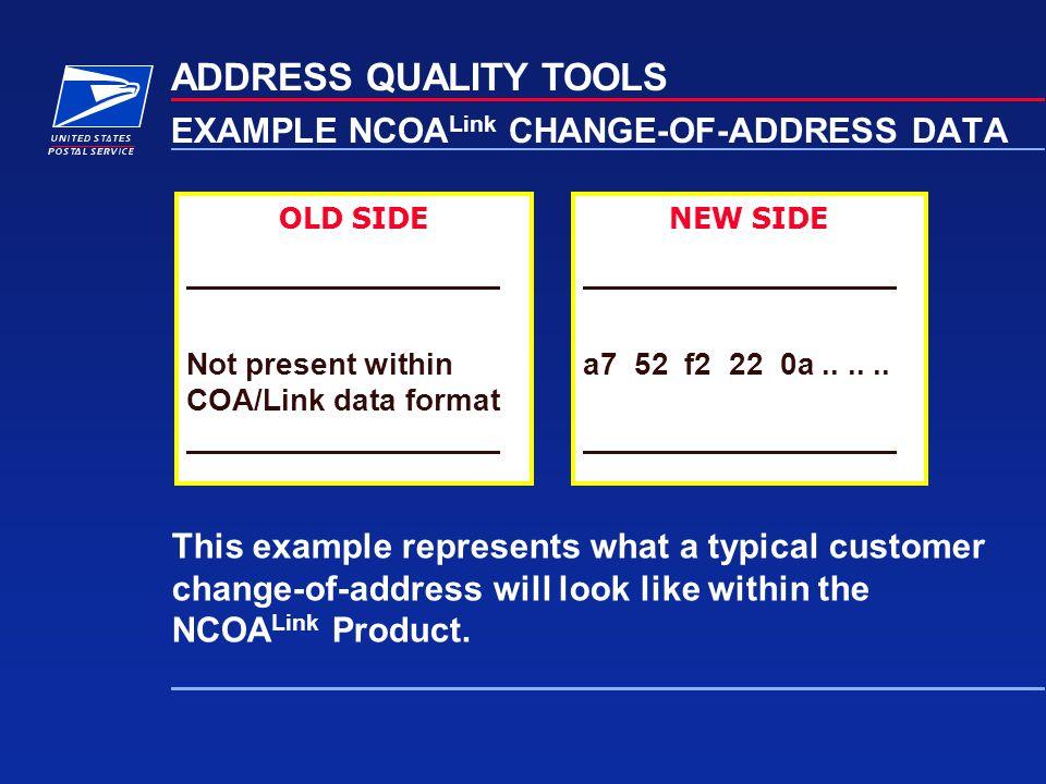 EXAMPLE NCOALink CHANGE-OF-ADDRESS DATA