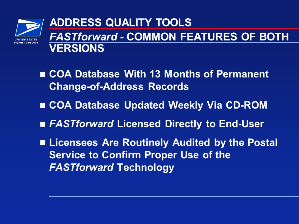 FASTforward - COMMON FEATURES OF BOTH VERSIONS