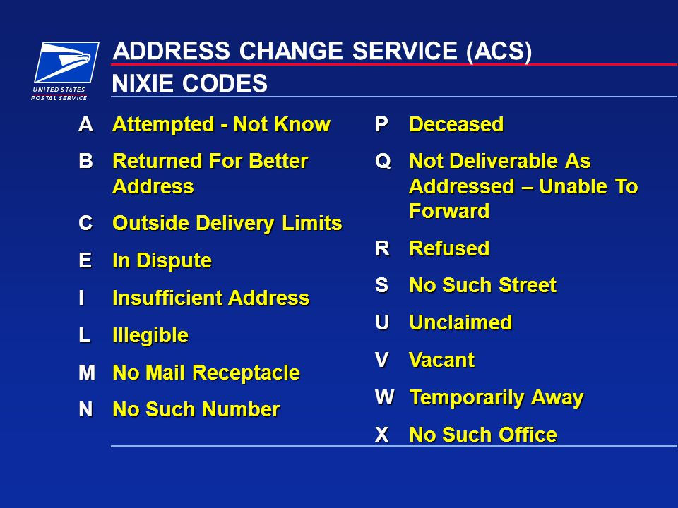 ADDRESS CHANGE SERVICE (ACS) NIXIE CODES