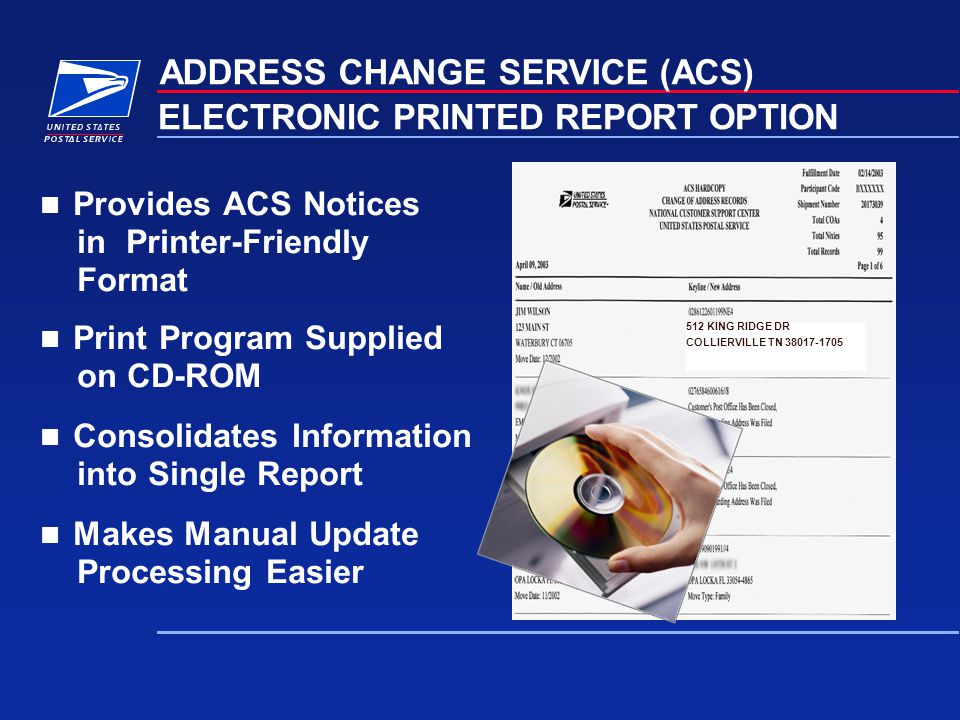 ELECTRONIC PRINTED REPORT OPTION